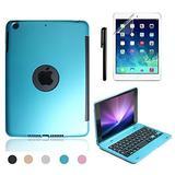 iPad Mini 4 Keyboard Case, BoriYuan Bluetooth Wireless Keyboard Folio Flip Smart Cover for Apple iPad Mini 4 2015 Release with Folding Stand and Auto Sleep/Wake Function, Blue
