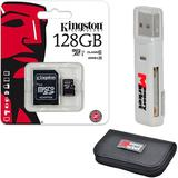Kingston 128GB MicroSD XC Class 10 UHS-1 TF MicroSDHC TransFlash 45MB/s Read High Speed Memory Card SDC10G2/128GB with SD Adapter, MemoryMarket MicroSD & SD Memory Card Reader and Memory Card Wallet