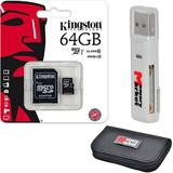 Kingston 64GB MicroSD XC Class 10 UHS-1 TF MicroSDHC TransFlash 45MB/s Read High Speed Memory Card SDC10G2/64GB with SD Adapter, MemoryMarket MicroSD & SD Memory Card Reader and Memory Card Wallet