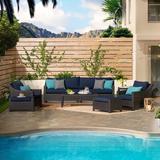 Three Posts™ Northridge 8 Pieces Rattan Sunbrella Sofa Seating Group w/ Cushions Wicker/Rattan in Blue/Black, Size 32.0 H x 96.0 W x 33.0 D in