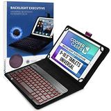 Cooper Backlight Executive Keyboard Case for 9-10.5 inch Tablets | Universal Fit | 2-in-1 Bluetooth Keyboard & Leather Folio, 7 Color Backlit (Purple)