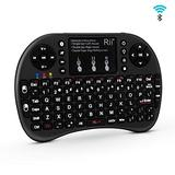 (Upgraded) Rii i8+ Mini Bluetooth Keyboard with Touchpad&QWERTY Keyboard, Backlit Portable Wireless Keyboard for Smartphones laptop/PC/Tablets/Windows/Mac/TV/Xbox/PS3/Raspberry Pi.Black