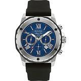 Bulova Men's (98B258) Marine Star Chronograph Stainless Steel and Silicone Casual Watch, Quartz Movement, Black