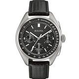 Bulova Archive Series Mens Watch, Stainless Steel with Black Leather Strap Lunar Pilot Chronograph , Silver-Tone (Model: 96B251)