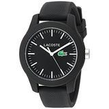 Lacoste Women's 'Ladies 12.12' Quartz Resin and Silicone Watch, Color:Black (Model: 2000956)
