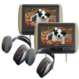 "Audiovox Movies2Go - Two AVXMTGHR9HD 9"" Headrest Monitor Systems w/Built in DVD Players"