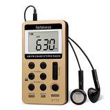 Retekess V112 AM FM Radio Portable Mini Radio with Earphone Pocket Digital Tuning Rechargeable Battery LCD Display for Walking Jogging(Gold)