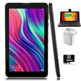 Indigi Unlocked 4G LTE 7-inch Android 9.0 Pie TabletPC & Smartphone (QuadCore + 2GB RAM/16GB Storage + DualSIM Slots) (Black) + Bundle