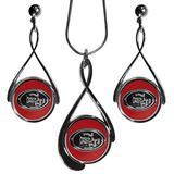 NFL San Francisco 49ers Tear Drop Necklace And Earrings Set