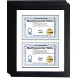 CreativePF [DL6x9bk-w] Double Business License Frame - Designed to Hold License Size 5.5 x 8.5-inches with Double Opening White Mat (4-Pack)