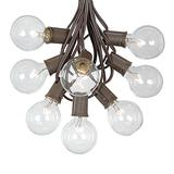 100 Foot G50 Outdoor Patio String Lights with 125 Clear Globe Bulbs – Indoor Outdoor String Lights – Market Bistro Café Hanging String Lights – C9/E17 Base - Brown Wire