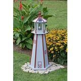 """Backyard Crafts Amish-Made Lighthouse in Cape Cod Gray with Red Trim, 48"""" Tall"""