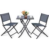 Giantex 3 Pcs Bistro Set, Outdoor Bistro Table Set, Folding Porch Furniture, Metal Patio Dining Table and 2 Chairs, 3 Pieces Portable Patio Bistro Set for Garden Backyard Lawn
