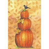 Toland Home Garden Pumpkin Tower 28 x 40 Inch Decorative Fall Autumn Leaves Bird House Flag