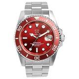 HYAKUICHI Men's Diver's 200M Quartz Stainless Steel Red Watch