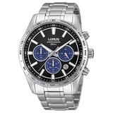 LORUS RT347DX-9,Men's Chronograph,Stainless Steel case & Bracelet,Black Dial,50m WR,With Box,RT347DX9