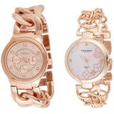 Akribos XXIV Women's 2 Rose Gold Watch Set - 1 Multifunction 3 Subdials Watch and 1 Classy Diamond Hour Markers Watch on Mother-of-Pearl Dial on Chain Link Bracelet - AK677