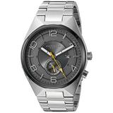 Akribos XXIV Men's Watch - With Engraved Concentric Circles on Subdial With Date Window On Stainless Steel Bracelet Watch - AK849