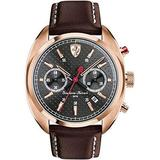 Ferrari Men's Leather Band Gold Tone Steel Bracelet Quartz Black Dial Chronograph Watch 0830210