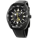 Seiko Black Dial Stainless Steel Leather Quartz Men's Watch SUN057