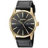 Nixon Sentry Leather A105513-00. Gold and Black Men's Watch (42mm Gold/Black Watch Face/ 23mm Black Leather Band)
