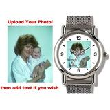 Women's Standard Size Personalized Elite Chrome Custom Watch with Silver Mesh Watchband by Watchbuddy Timepieces