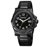 August Steiner Men's Clear Watch - Cut Etched Pattern Bezel Quartz Watch On Stainless Steel Braclet - AS8184