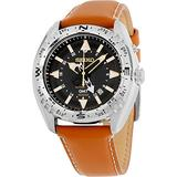 Seiko Kinetic Black Dial Stainless Steel Leather Kinetic Men's Watch SUN055