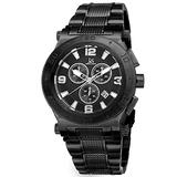 Joshua & Sons Men's Chronograph Watch - 3 Black Multifunction Subdials with Date Window on Black Textured Alloy Bracelet - JX104