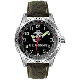 US Marines Military Performance Wrist Watch w/ Padded Genuine Leather Strap