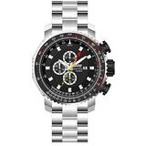 HMEWatch Men's ATC Aviator Chronograph/Dual-Time Pilot Watch, All Stainless Steel Case and Bracelet with hidden DeployClasp, 100m WR ATC3250K