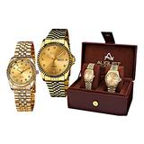 August Steiner AS8201YG Watch with Gold Dial and Gold/Gold Tone Bracelet