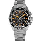 Rotary Men's Quartz Watch with Black Dial Chronograph Display and Silver Stainless Steel Bracelet AGB90088/C/04