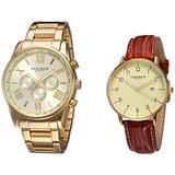 Akribos XXIV Men's 2 Watch Set - 1 Multifunction Swiss Quartz Watch On Yellow Gold Stainless Steel Bracelet, 1 Everyday Watch With Date Window On Brown Leather Strap - AK884