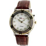 Peugeot Glow in The Dark Light Up Watch with Classic Brown Leather Band - Ideal for Camping or Outdoor Activity