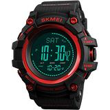Mens Outdoor Sports Army Watches Pedometer Calories Digital Watch Altimeter Barometer Compass Thermometer Weather Men Watch (Black) (Red)