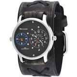 Nemesis #LFXB220L Men's Charcoal Grey Wide Leather Band Dual Time Zone Watch