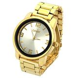 Mens Gold Tone Over Size Metal Band Silver Face Fashion Casual Quartz Wrist Watch ONK2
