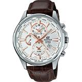Casio Edifice EFR-304L-7A Men's Leather Band Dual Dial World Time Analog Watch