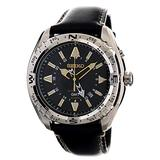 Seiko Mens Kinetic GMT Sports 100M Watch with Black Calf Leather SUN053P1