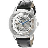 Invicta Men's Vintage Automatic Stainless Steel and Leather Casual Watch, Color:Black (Model: 22570)