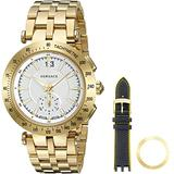 Versace Men's V-Race Swiss-Quartz Watch with Stainless-Steel Strap, Gold (Model: VAH030016)
