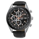Seiko Chronograph SSB183 Black Dial Black Leather Band Men's Watch