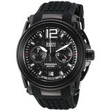 Elini Barokas Men's 'King' Swiss Quartz Stainless Steel and Silicone Watch, Color:Black (Model: 20014-BB-01)