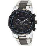 Akribos AK940 Multifunction Men's Watch - Includes day, date, and GMT 3 Subdials Designer Men's Watch – Stainless Steel Bracelet Wristwatch - Father's Day Gift (AK940 Tri Color)