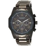 Akribos AK940 Multifunction Men's Watch - Includes day, date, and GMT 3 Subdials Designer Men's Watch – Stainless Steel Bracelet Wristwatch - Father's Day Gift (AK940 Black)