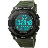 Mastop Waterproof Multifunction Sports Watches LED Digital 3D Pedometer Alarm Stopwatch(Army Green)
