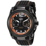 Elini Barokas Men's 'King' Swiss Quartz Stainless Steel and Silicone Watch, Color:Black (Model: 20014-BB-01-OA)