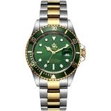 Mens Luxury Watches Ceramic Bezel Mineral Glass Luminous Quartz Silver Gold Two Tone Stainless Steel Watch (Gold Green)