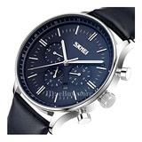 Sub-dials Men Watches Quartz Date Calendar Multifunction Leather Band Wristwatch Blue Dial
